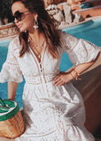 Free Shipping -- Summer Holiday Short Sleeve V-Neck Lace Dress with Button
