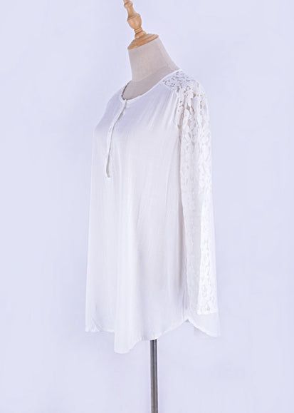Free Shipping -- White Lace V-Neck Beach Dress with Buttons Shirt Cover Ups