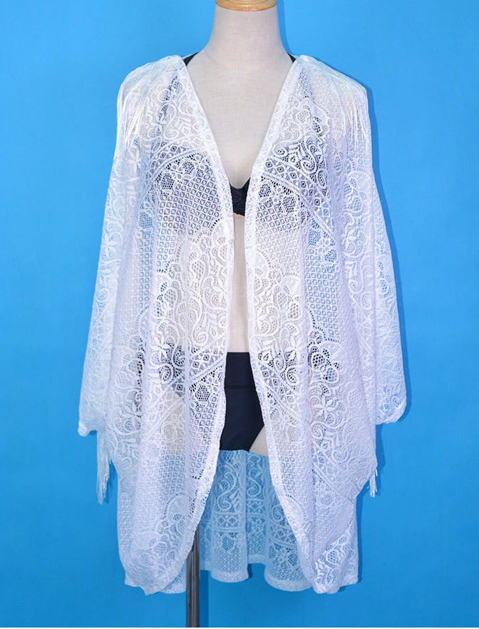 Free Shipping -- White Lace Long Sleeve Tassel Cardigan Cover Ups