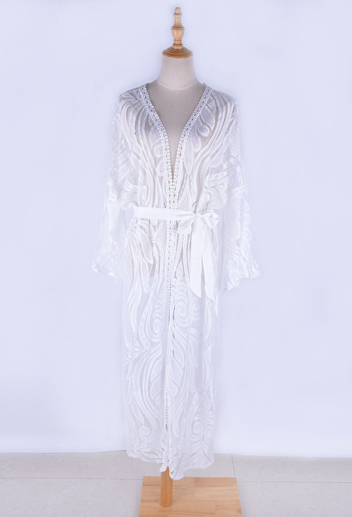 Free Shipping -- White Long Sleeve with Belt Embroidered Cardigan Cover Ups