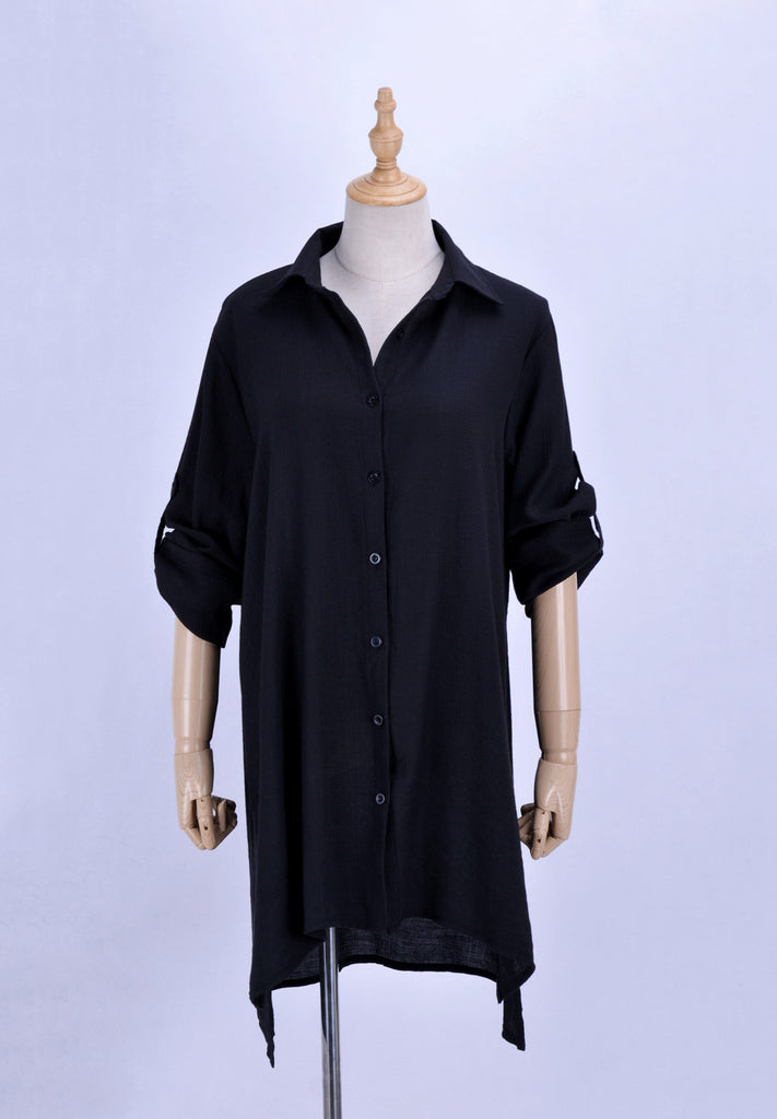 Free Shipping -- Sexy Solid Folds Single Breasted V-Neck Long Sleeve Shirt Cover Ups