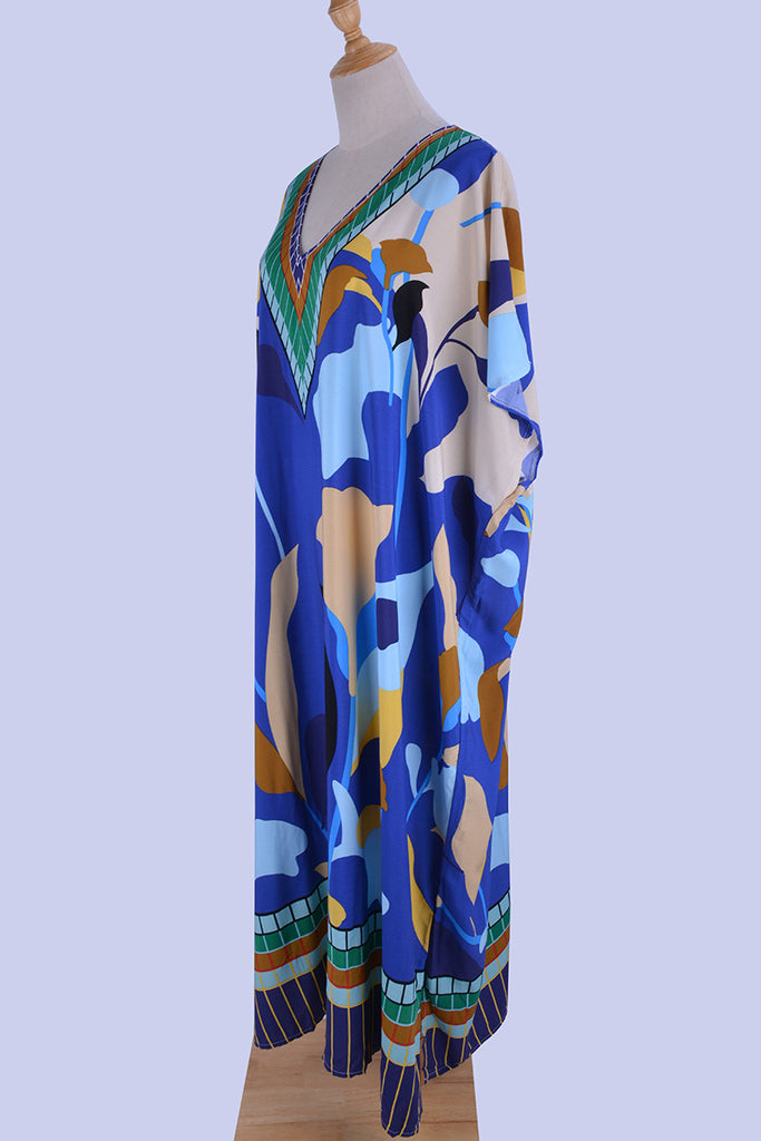 Free Shipping -- Blue Cartoon Print Short Sleeve V-Neck Maxi Vintage Cover Ups