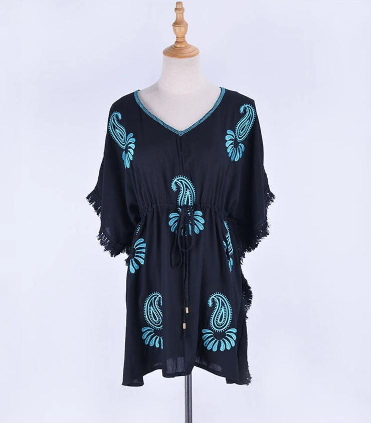 Free Shipping -- Blue Cashew Embroidered Tassel V-Neck Short Cover Ups