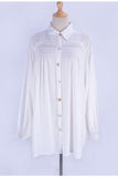 Free Shipping -- Long Sleeve White Short Button Cardigan Shirt Cover Ups