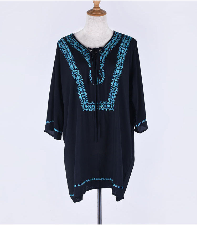 Free Shipping -- Black Embroidered 3/4 Sleeve Bandage Swimsuits Cover Ups