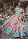Free Shipping -- Pink Floral Print Off The Shoulder Maxi Summer Beach Dress