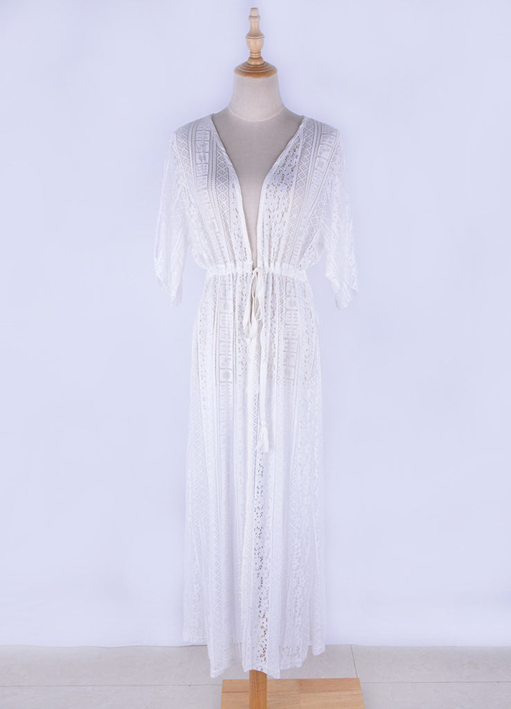Free Shipping -- White Lace Short Sleeve Off Shoulder Maxi Cardigan Cover Ups