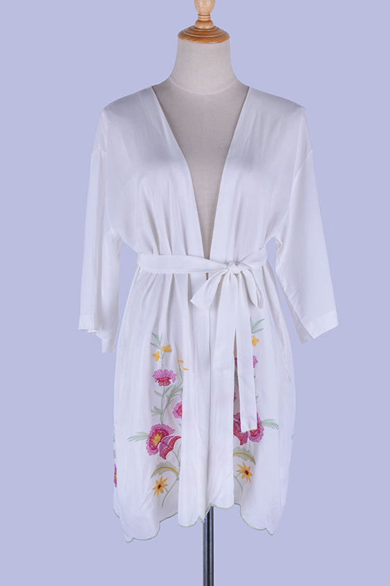 Free Shipping -- White Floral Embroidered Wave Lace Belt Cotton Cardigan Cover Ups
