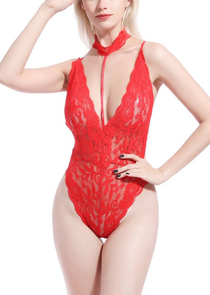 Free Shipping -- Red Lingerie Underwear Halter Mesh Lace Teddy Bodysuit
