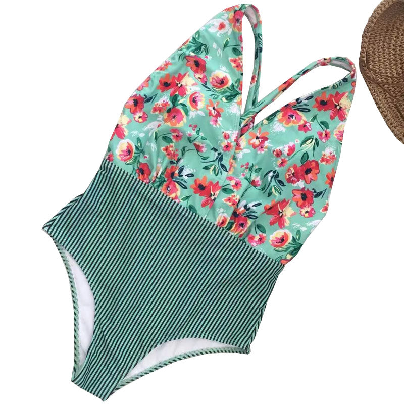 Free Shipping -- Flower Print Hollow Out Halter Monokini