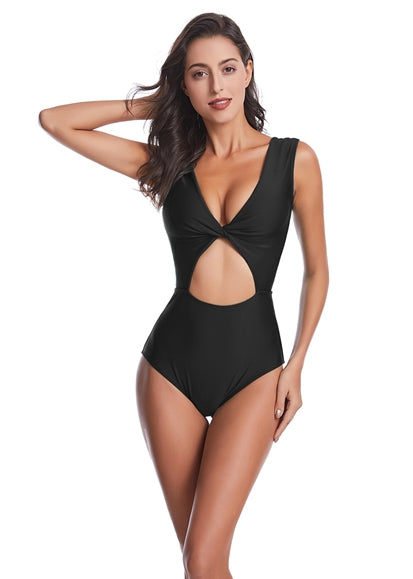 Free Shipping -- Pure Color V-Neck Hollow Out Monokini