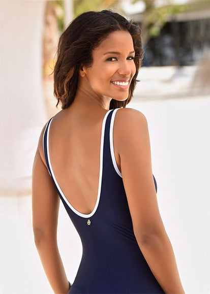Free Shipping -- Navy Blue V-Neck Skin-tight Monokini