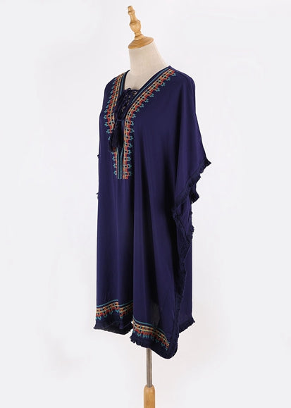 Free Shipping -- Navy Blue Embroidered Tassel Loose Short Cover Ups
