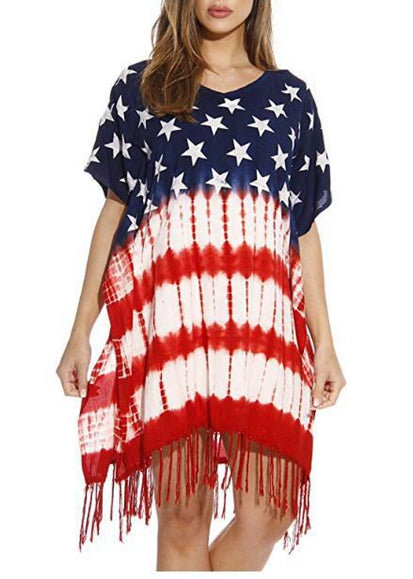 Free Shipping -- American Flag Print Short Sleeve Tassel Short Cover Ups