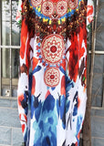 Free Shipping -- Red Vintage Print Robe Short Sleeve Kaftan Maxi Swimsuits Cover Ups