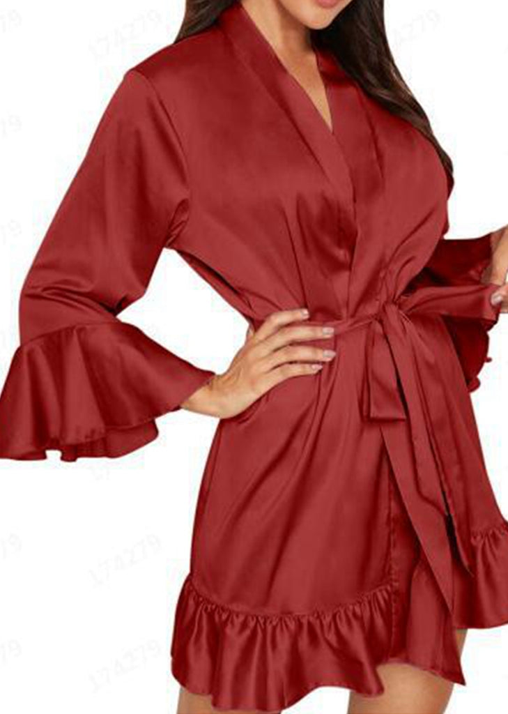 Free Shipping -- Plus Size Lingerie Sleepwear Silk Flare Sleeve Robe