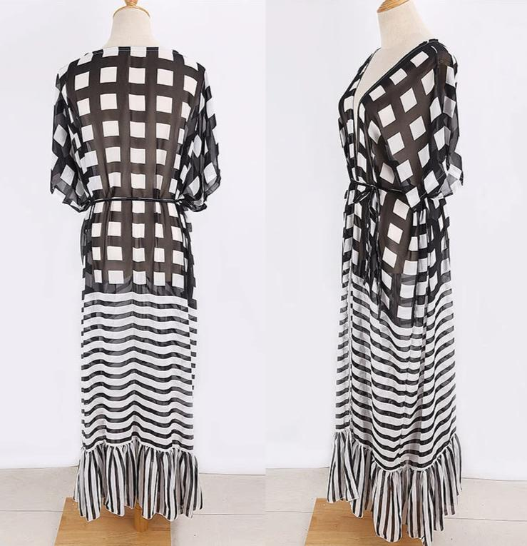 Free Shipping -- Black/White Half Sleeve Maxi Cardigan Cover Ups