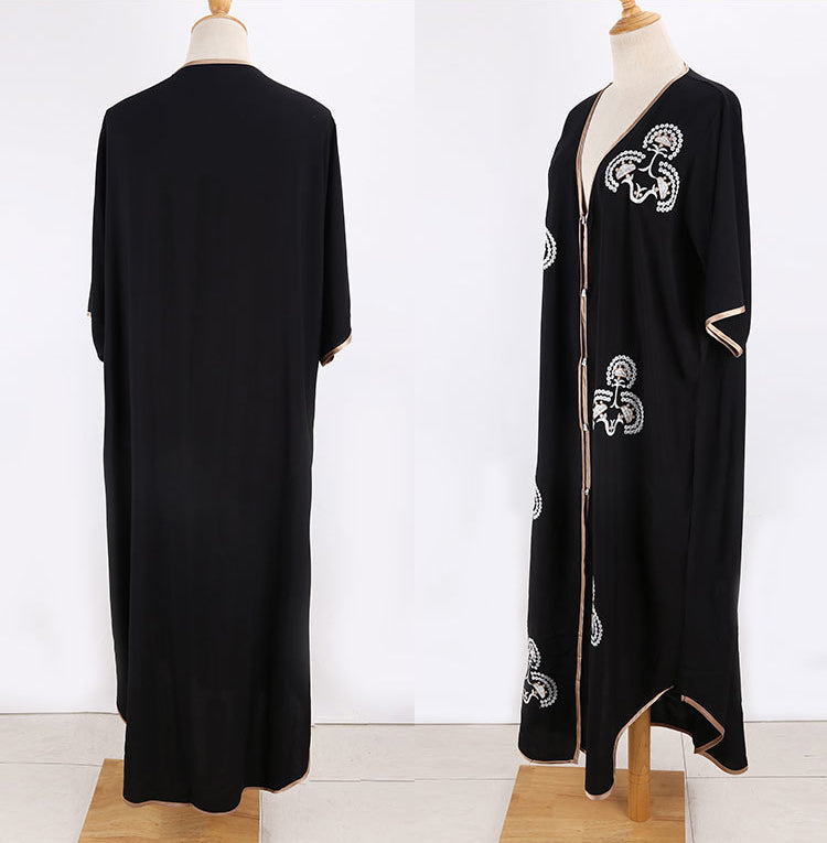Free Shipping -- Black Embroidered Single Breasted Maxi Cardigan Cover Ups