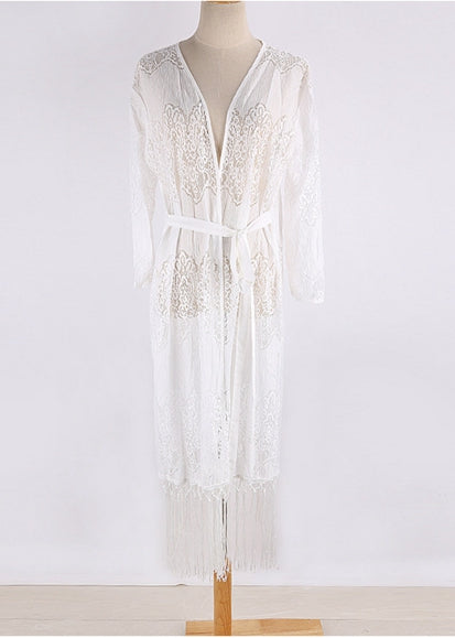 Free Shipping -- Lace Embroidered Tassel Long Sleeve Cardigan Cover Ups