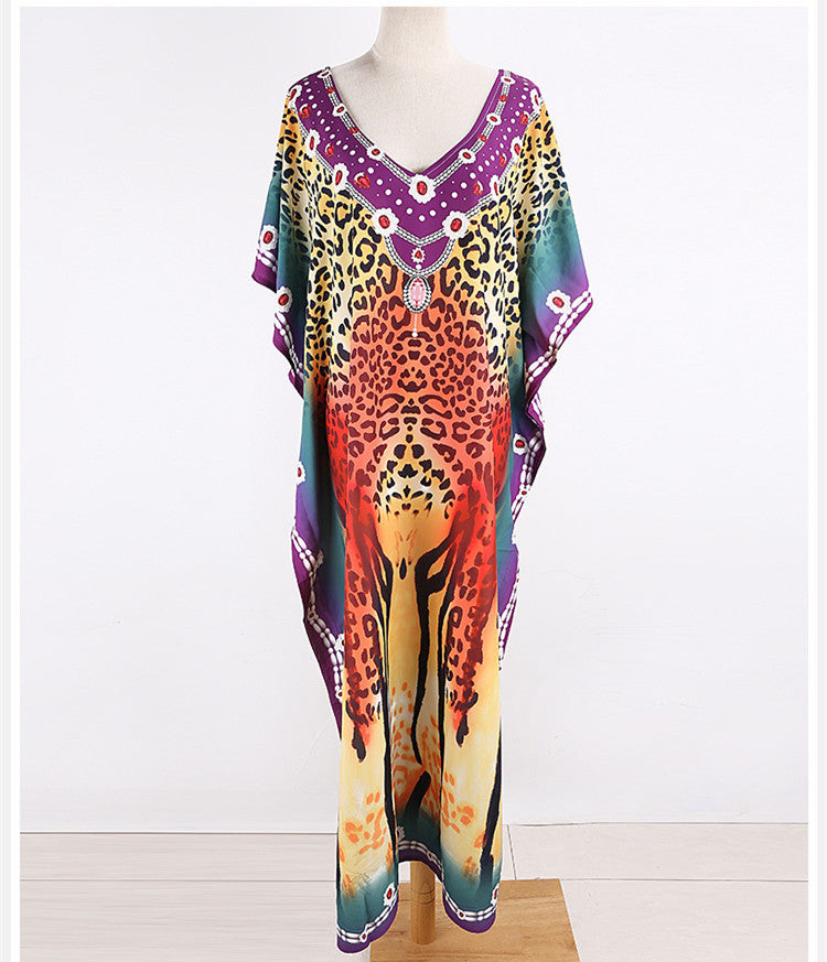 Free Shipping -- Vintage Leopard Print Loose V-Neck Maxi Beach Dress Kaftan Cover Ups