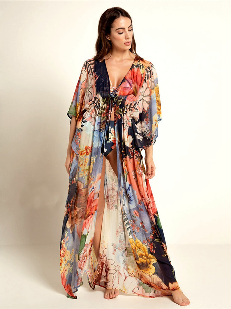 Free Shipping -- Floral Print V-Neck Loose Maxi Cardigan Cover Ups