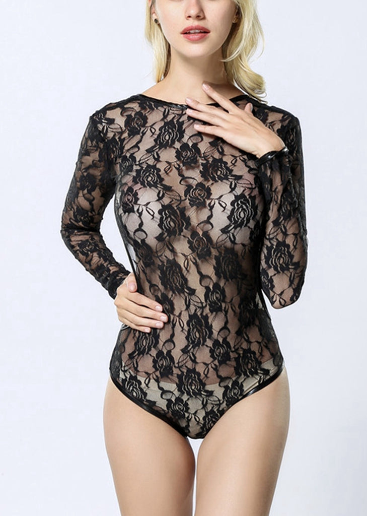 Free Shipping -- Black Long Sleeve Lingerie Mesh Lace Backless Teddy Bodysuit