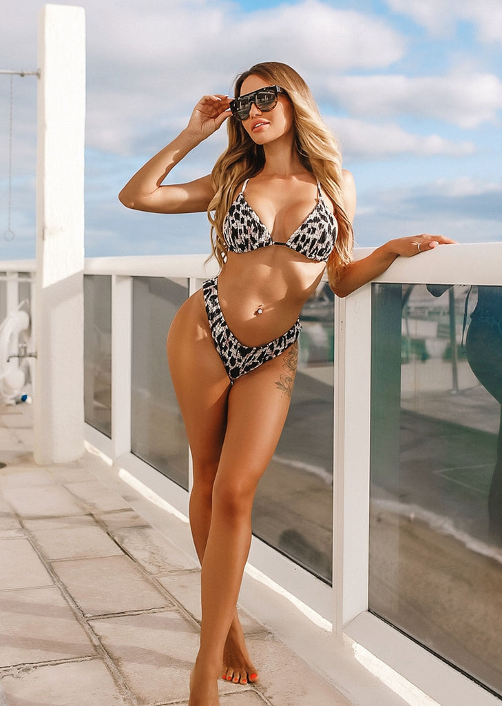 Free Shipping -- Black/White Leopard Print High Cut Triangle Bikini