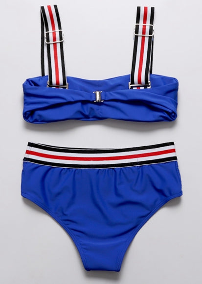 Free Shipping -- Women Multicolor Striped Shoulder Straps Two Piece Bandeau Top Bikini Swimsuit