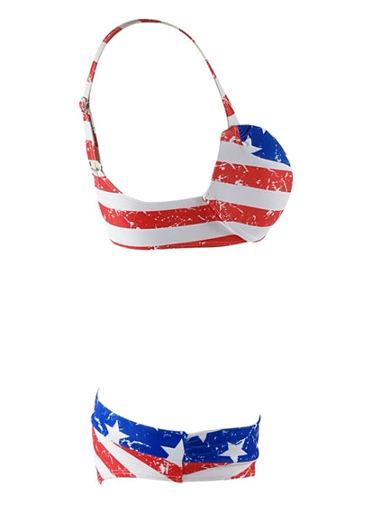 Free Shipping -- Blue/Red American Flag Print Push Up Bikini