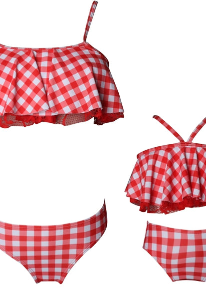 Free Shipping -- Red Plaid High Waisted Swimwear Mommy & Me