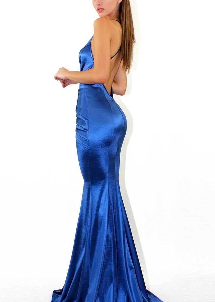 Free Shipping -- Blue Deep V-Neck Backless Slim Camisole Dress Maxi Evening Dress
