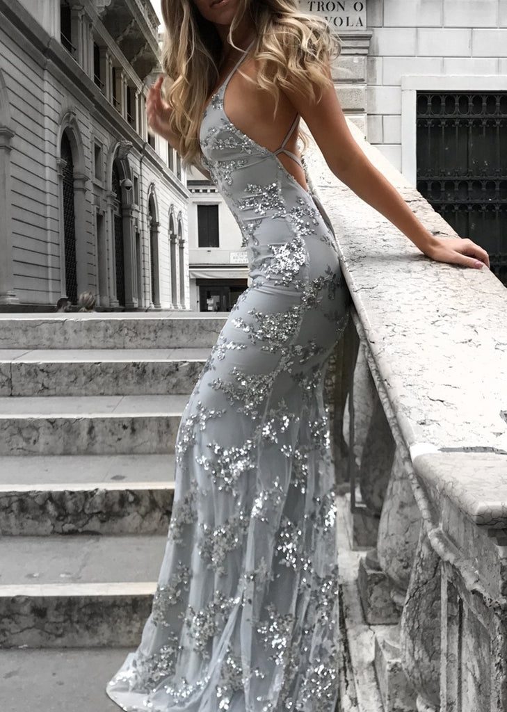 Free Shipping -- Gray Backless Camisole Slim Dress Maxi Sequin Evening Dress