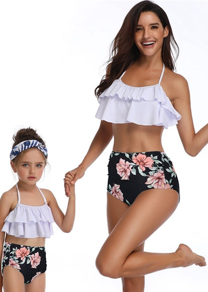 Free Shipping -- White/Black Flower Print Ruffle Halter High Waisted swimwear Mommy & Me