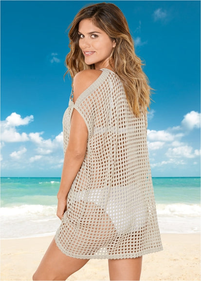 Free Shipping -- Hollow Out Off The Shoulder Mesh Swimsuits Crochet Knitted Cover Ups