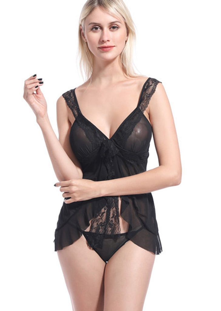 Free Shipping -- Black Lace Bowknot High Slit Open Back Babydoll