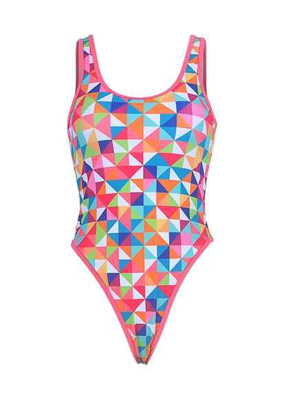Free Shipping -- Colorful Triangle Print One Piece Monokini