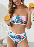 Free Shipping -- Tropical Floral Print Bandeau High Waisted Bikini