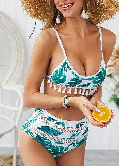 Free Shipping -- Green Leaf Print Tassel High Waisted Bikini