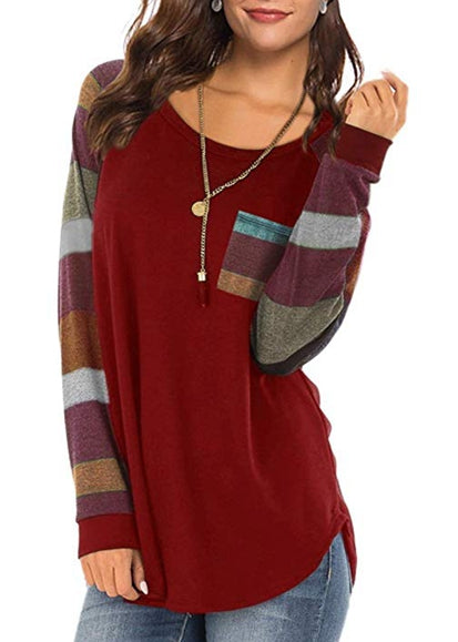 Free Shipping -- Women's Casual Long Sleeve Round Neck Red Loose Tunic T Shirt With Pocket