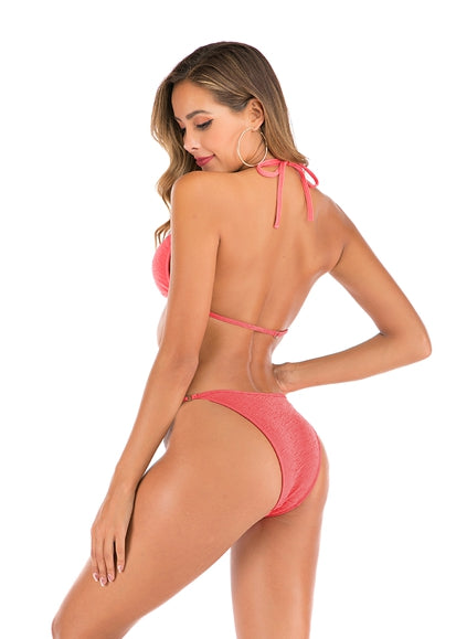 Free Shipping -- Summer Women Solid Color Halter Triangle Bikini