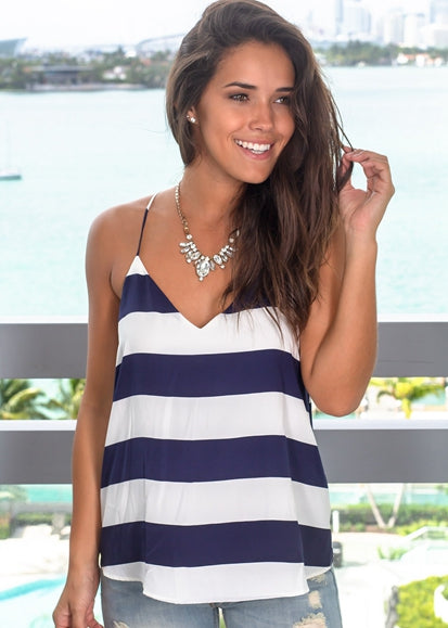Free Shipping -- Blue/White Stripe Sleeveless Tank Tops Casual Camisole