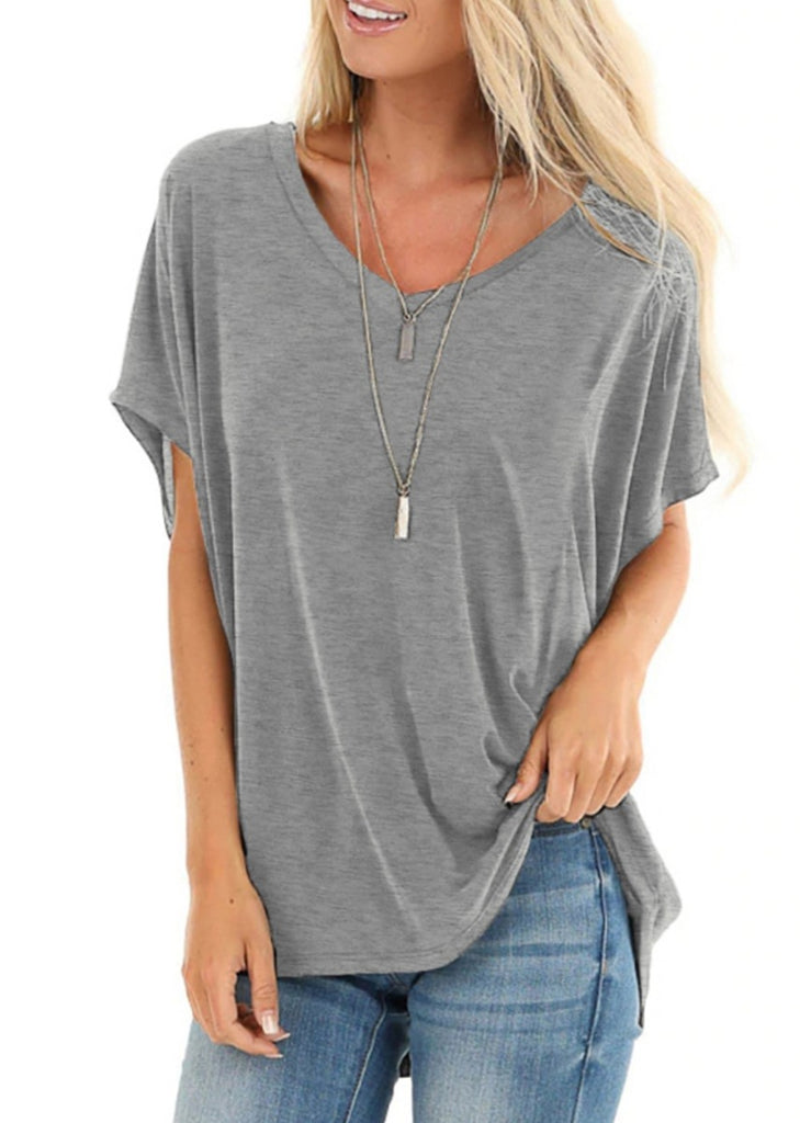 Free Shipping -- Solid Color V Neck Short Sleeve Shirts Casual Tunic Tops