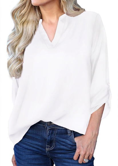 Free Shipping -- Solid Colors 3/4 Roll Up Sleeve V Neck Blouse