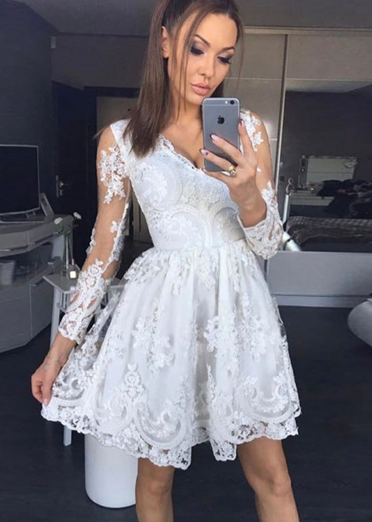 Free Shipping -- Sexy V-Neck Long Sleeve Fitted Sheer Lace Dress