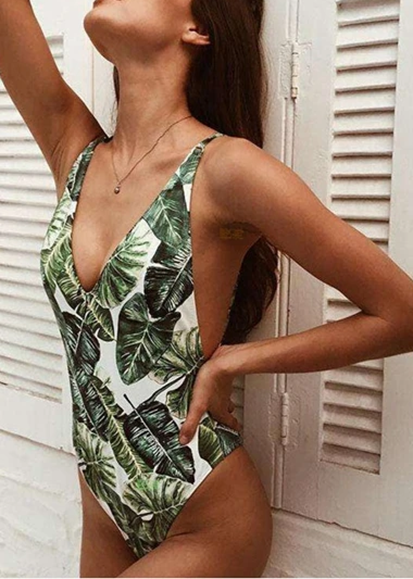 Free Shipping -- Sexy Tropical Leaf Print Deep V-Neck Monokini Backless