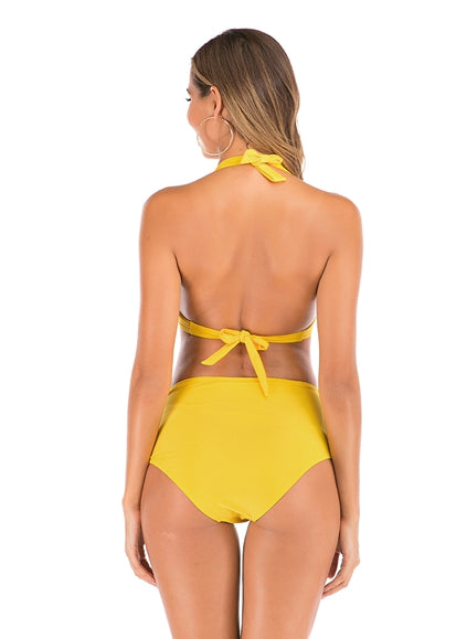 Free Shipping -- Yellow Fold Pleated Halter Push Up Bikini High Waisted Bikini