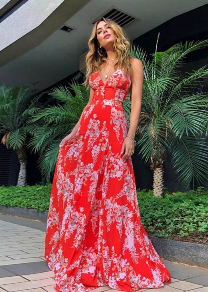 Free Shipping -- Red Tropical Floral Print Deep V Backless Maxi Summer Beach Dress