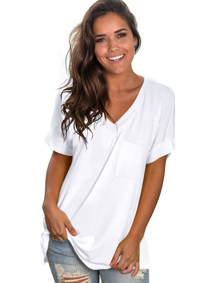 Free Shipping -- Fashion Women Basic V Neck with Pocket Tank Tops Side Split T Shirts