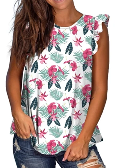 Free Shipping -- Summer Holiday Tropical Print Sleeveless Tank Tops with Ruffle