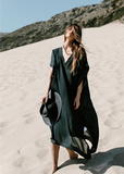 Free Shipping -- Black Short Sleeve V-Neck Maxi Beach Dresses